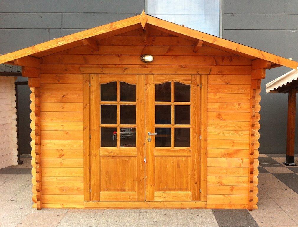casetta in legno 3x3 5 28mm con porta doppia