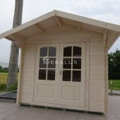Casetta in legno da giardino 2,5x3 44mm_porta doppia e finestra laterale