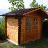 Casetta in legno 2,5x2,5 (28mm) con porta doppia IMPREGNATA COLOR CASTAGNO