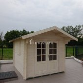 Casetta in legno da giardino 2,5x2,5 44mm_porta doppia e finestra laterale