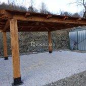 Gazebo in legno 3,5x3,5 in  lamellare a 4 acque-Made in Italy