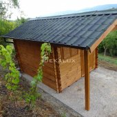 Casetta in legno 2,5x2,5 (44mm) con porta singola e finestra