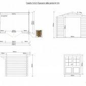 Casetta in legno 3x2 (44mm) con porta doppia