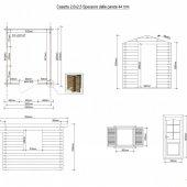 Casetta in legno 2x2,5 (44mm) con porta singola e finestra laterale