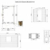 Casetta in legno 2x3 (44mm) con porta singola e finestra laterale