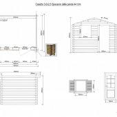 Casetta in legno 3x2,5 (44mm) con porta singola e finestra