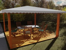 Gazebo in legno 4x4 in lamellare a 4 acque-Made in Italy