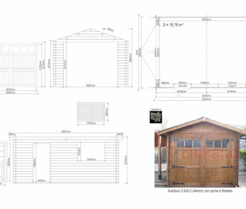 Garage in legno 3,5x5 (44 mm)