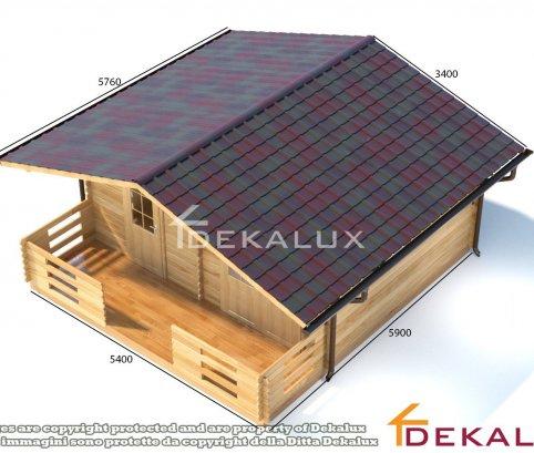 Bungalow in legno 5,4x4,3 + 1,5