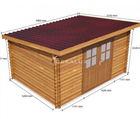 Casetta in legno 4x3 (34 mm) con porta doppia MONOFALDA