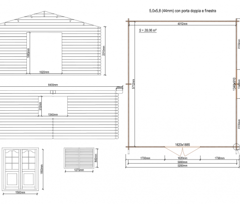 Bungalow in legno 5x6 (44 mm)