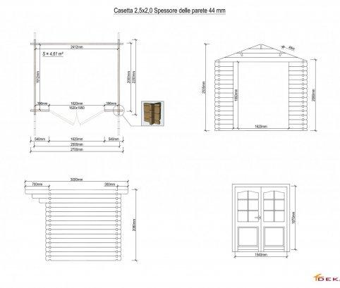 Casetta in legno 2,5x2 (44mm) con porta doppia