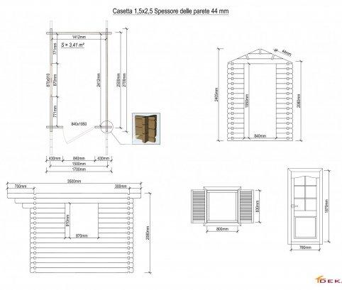 Casetta in legno 1,5x2,5 (44mm) con porta singola e finestra laterale