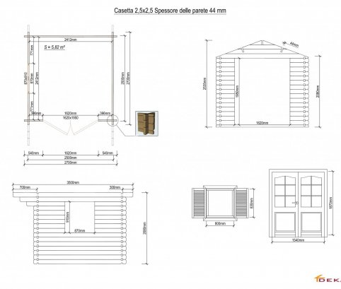 Casetta in legno 2,5x2,5 (44mm) con porta doppia e finestra laterale