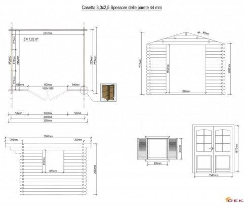 Casetta in legno 3x2,5 (44mm) con porta doppia e finestra laterale