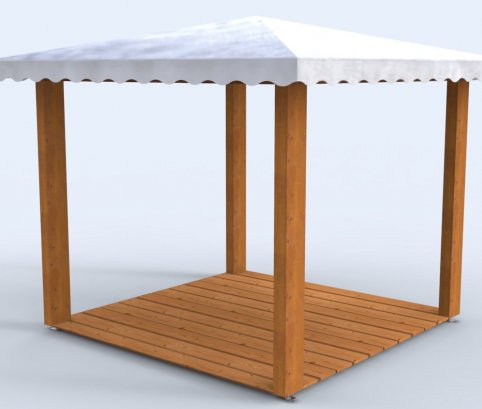 Gazebo in legno 2,5x2,5 in  lamellare a 4 acque-Made in Italy