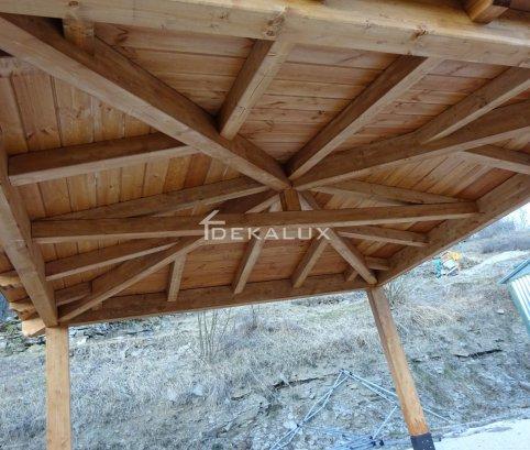 Gazebo in legno 4x4 in lamellare a 4 acque-Made in Italy