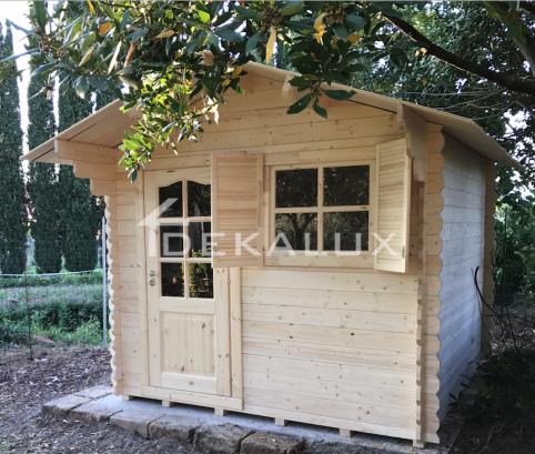 Casetta in legno 2,5x3 (44mm) con porta singola e finestra