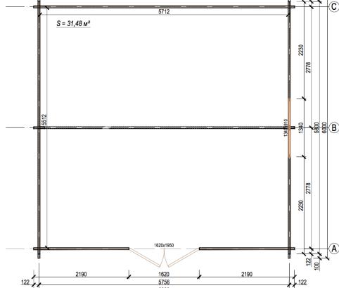 Bungalow in legno 6x6 (44mm)_porta doppia