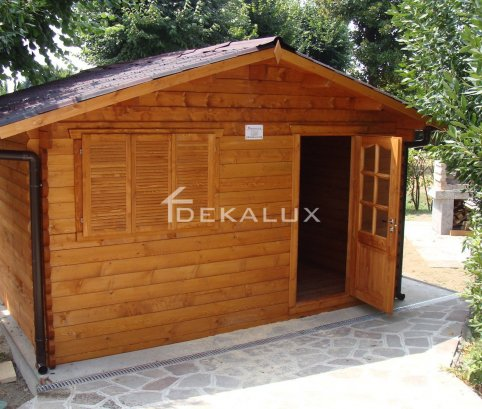 Bungalow in legno 6x6 (44 mm)_porta singola