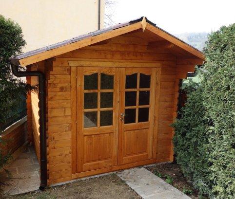 Casetta da giardino con porta doppia, misure 2,5x2