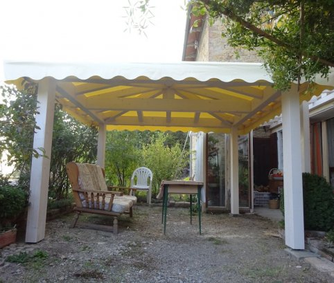 Gazebo in legno 3x3 in lamellare a 4 acque-Made in Italy