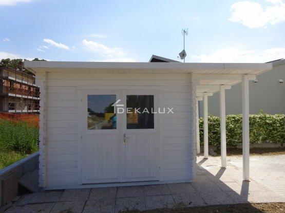 Casetta in legno 3x3 34mm mono falda impregnata con tettoia laterale 1,50mt